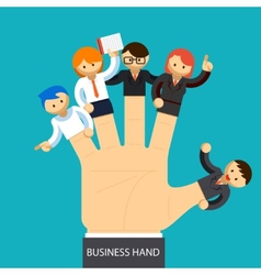 Business hand open hand with employee on fingers vector