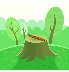 Flute in forest on stump vector