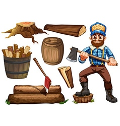 Lumberjack and firewood vector