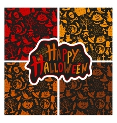 Set of seamless patterns color icons for halloween vector