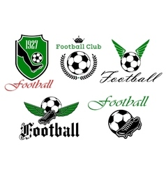 Soccer and football heraldic icons vector image