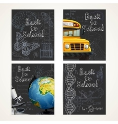 Back to school black banners set with doodles vector image