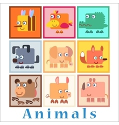 Set animals baby style vector