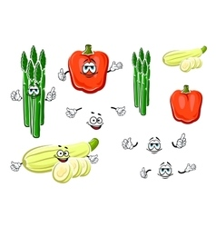 Bell pepper asparagus and zucchini vegetables vector