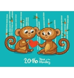 New year card with monkeys for year 2016 vector