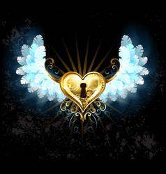 Mechanical heart with white wings vector