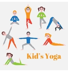 Yoga kids set gymnastics for children and healthy vector