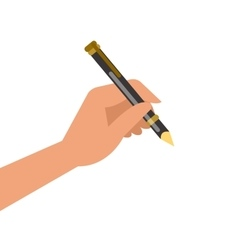Hand holding pen and writing vector