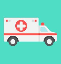 ambulance flat icon medicine and healthcare vector image