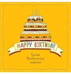 Birhday cake card yellow vector