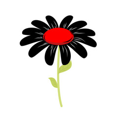 Black flower isolated floret of sorrow and grief vector