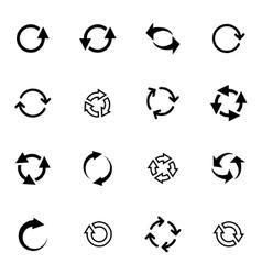 Black refresh icons set vector