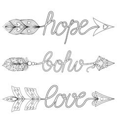 Bohemian arrows signs boho love hope with vector