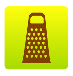 Cheese grater sign brown icon at green vector