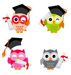Cute owl collection vector