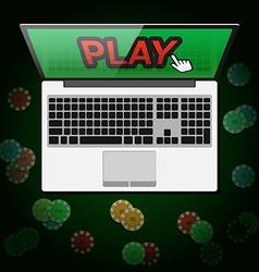 Design of banner casino online in vector image