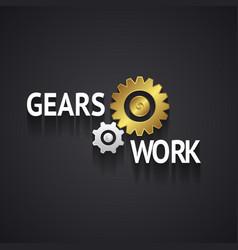 Elegant gear logo design on gray background vector