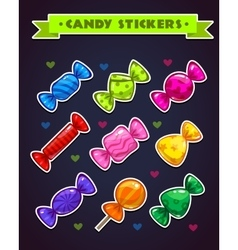 Funny bright candy stickers set vector image