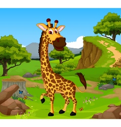 funny giraffe cartoon in the jungle vector image vector image