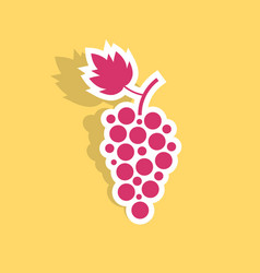Grape icon sticker with shadow vector