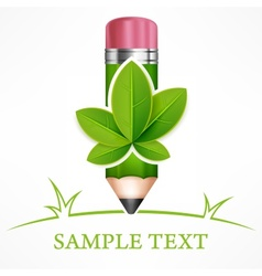 Green leaves pencil vector image vector image