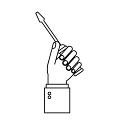 Hand holding screwdriver tool repair outline vector