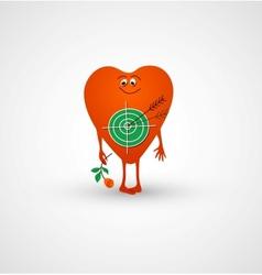 Heart is love target vector image vector image