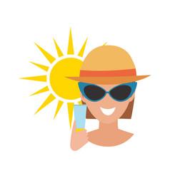 Human avatar woman degree of sunburn beach vector