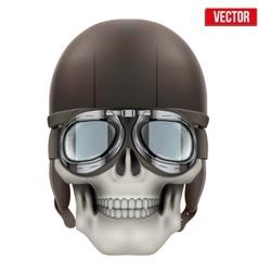 Human skull with retro aviator or biker helmet vector image vector image