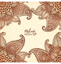 Indian mehndi henna tattoo style card vector