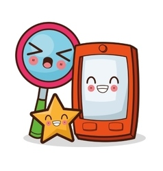 Isolated kawaii smartphone design vector image vector image