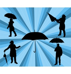 people with umbrella vs vector image