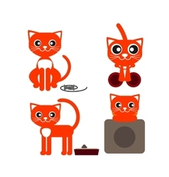 red cat lying vector image