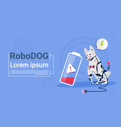 Robotic dog with low battery charge domestic vector