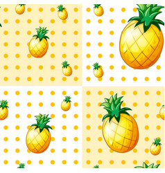 Seamless background with yellow pineapples vector