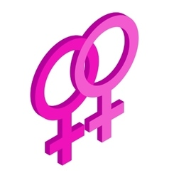 Two female gender symbols isometric 3d icon vector