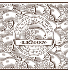 vintage lemon label on seamless pattern vector image vector image