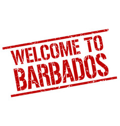 welcome to barbados stamp vector image vector image