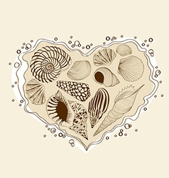with heart of seashells vector image vector image
