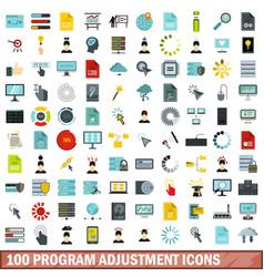 100 program adjustment icons set flat style vector