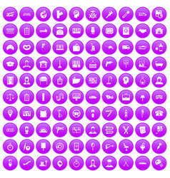 100 work icons set purple vector