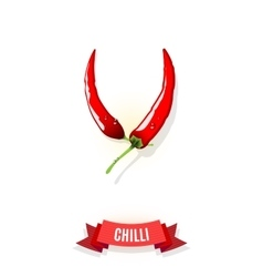 Extra spicy chili pepper banner with ribbon vector
