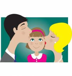 Parents and child kiss vector