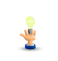 Arm business hand light bulb idea palm up 3d icon vector