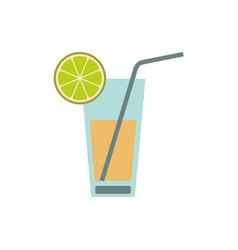 Color silhouette of cocktail drink with lemon vector