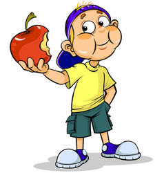 boy and apple vector image