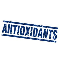 Square grunge blue antioxidants stamp vector