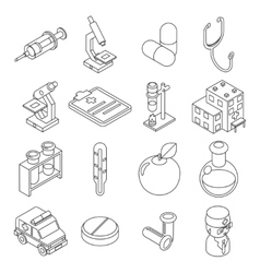 Medicine and health care isometric 3d line icons vector
