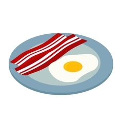 Fried egg with bacon isometric 3d icon vector