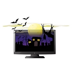 Computer screen with halloween theme vector